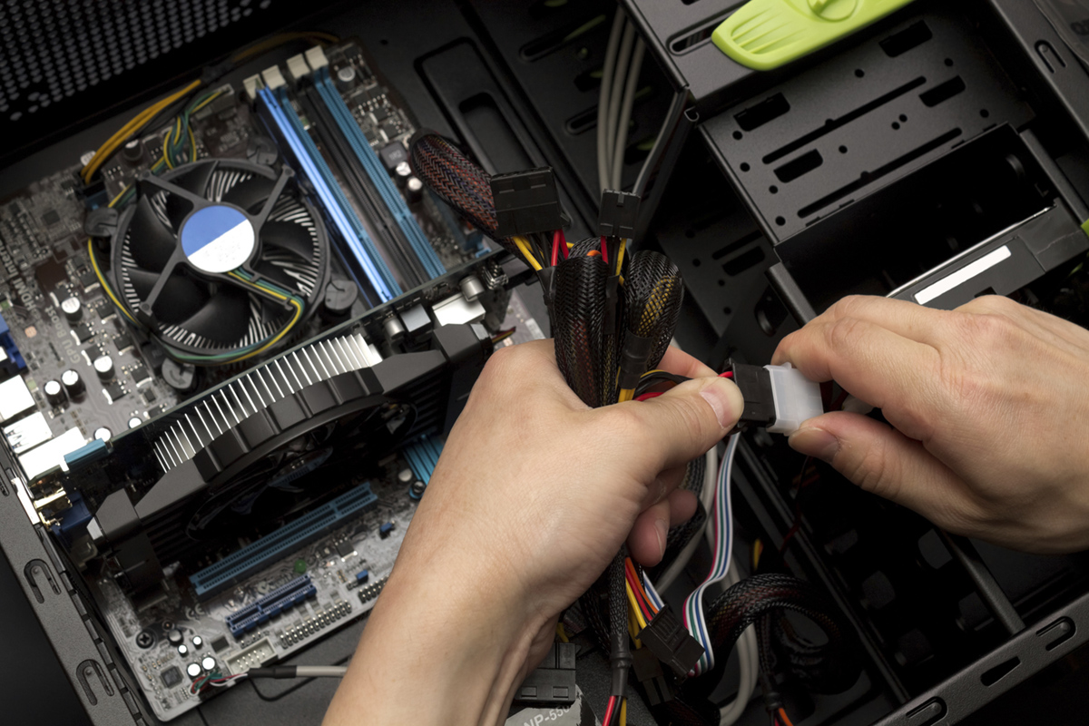 Plugging PC cables and wires