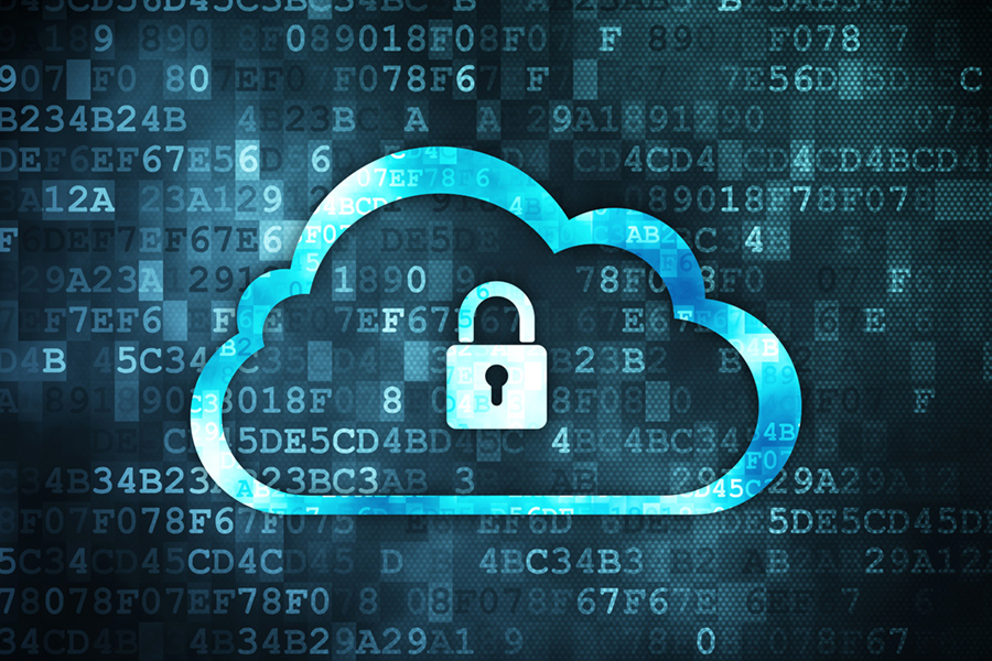 Networking concept: Cloud With Padlock on digital background